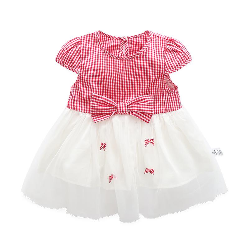 Baobao kasual yang baru lahir musim semi gaun rok (Merah dan putih gaun kasa )