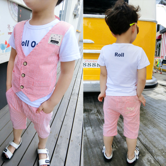 1 Set Baju Katun Anak Laki Laki Umur 1-3 Tahun (Garis-garis