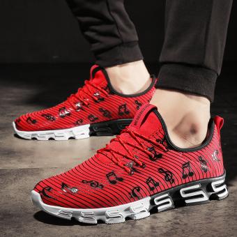 Baru musim panas remaja sepatu running sepatu pria sepatu olahraga (832-merah-kunci sepatu)