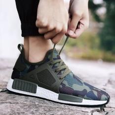 Baru musim panas sepatu berongga udara untuk olahraga Korea Tide elastis kain sepatu menapakkan kaki sepatu modis kamuflase lembut bersol sepatu lari (army Hijau)