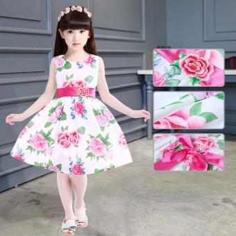 Price Checker Baru perempuan anak anak besar lengan pendek gaun putri gadis gaun (Bunga merah bunga) Pelacakan Harga