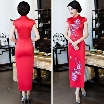... Pencari Harga Baru retro bordir ditingkatkan gaun cheongsam tradisional  Cina Merah Pencarian Termurah 5e73482252