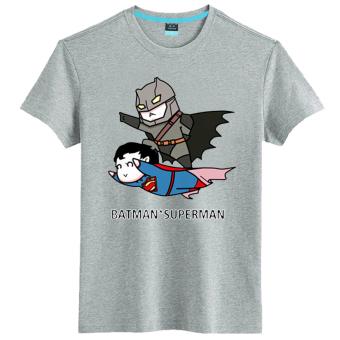 Gambar Batman kartun Film Zhou Bian lengan pendek t shirt (Gray 23)