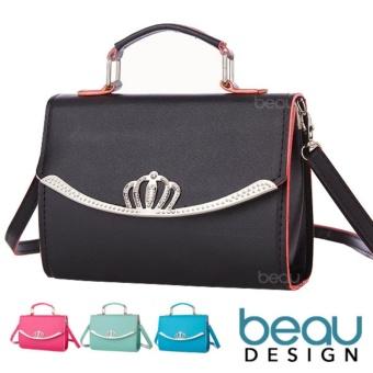 BEAU Tas Wanita Import Kulit Batam Branded Selempang Terbaru Crown PU  Leather Top Handle Women Sling ae5978fa8e