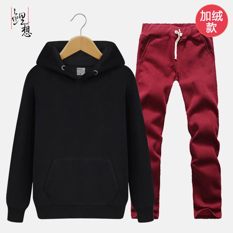 Beberapa Korea Fashion Style berkerudung celana Cargo busana sweater (Ditambah beludru kemeja hitam + anggur
