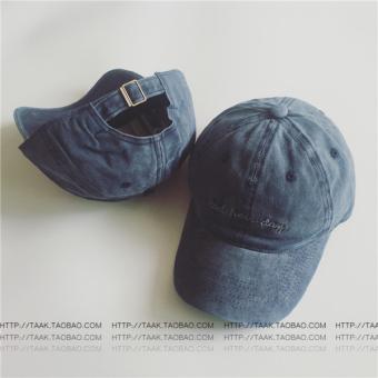 Beberapa Korea Fashion Style denim musim panas dicuci topi baseball cap (Bad denim biru)