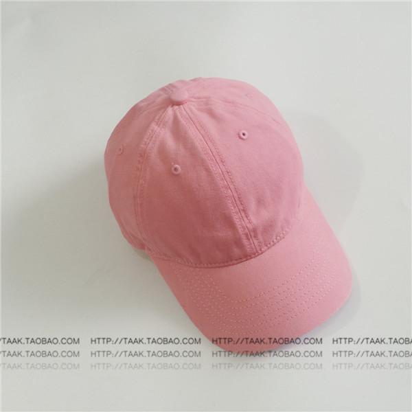 Beberapa Korea Fashion Style denim musim panas dicuci topi baseball cap (Warna solid merah muda