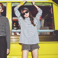 Beishihan Kaos Wanita Lengan Panjang Kerah Tinggi Motif Salur Model Pas Badan (Putih)