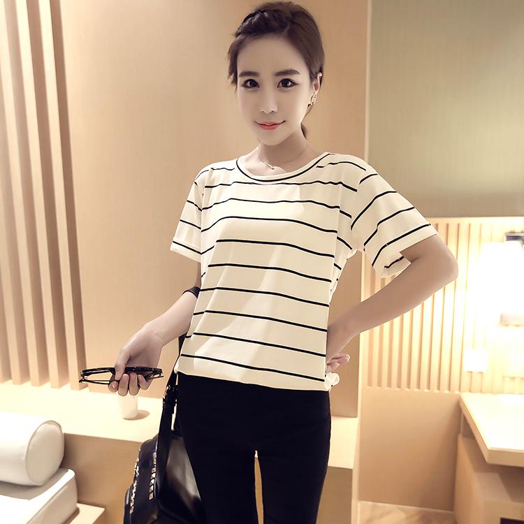 Beishihan Kaos Wanita Model Longgar Motif Salur Lengan Pendek (Putih [843] model)