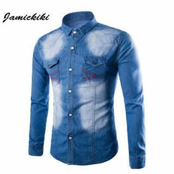 Belanjayukz kemeja jeans pria murah berkualitas / Kemeja Jeans robin biru tua - 7Z