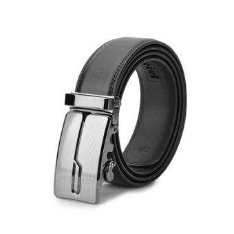 Belt with Zinc Alloy Buckle for Men 125cm - Black-Silver