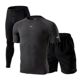 Berjalan cepat kering legging pakaian kebugaran Room basket pakaian kebugaran pakaian (Lengan pendek hitam tiga potong)