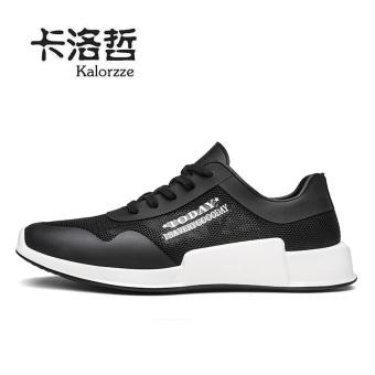 Bernapas jala musim panas sepatu sepatu jaringan tunggal kebugaran kasual sepatu sepatu pria (Model laki-laki + Hitam)