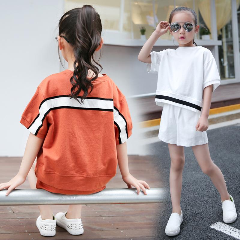 Besar jahitan katun anak perempuan lengan pendek gadis jas (Oranye)