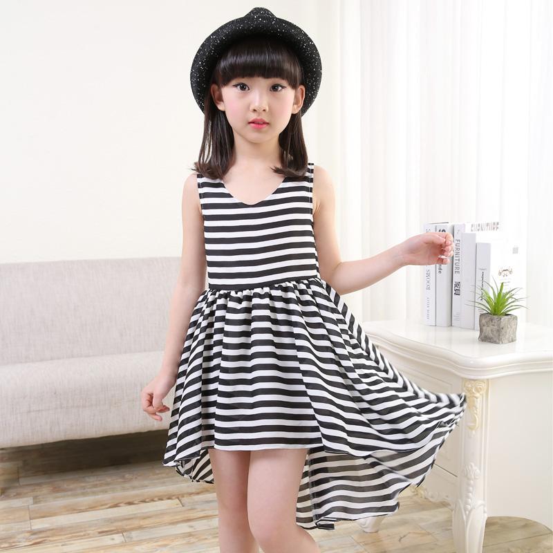 ... Besar Korea Fashion Style baru musim panas anak anak rompi rok gadis gaun Hitam