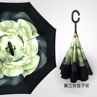 BEST Payung Terbalik Gagang C Reverse Umbrella Payung Lipat / Mobil- 22 HIJAU