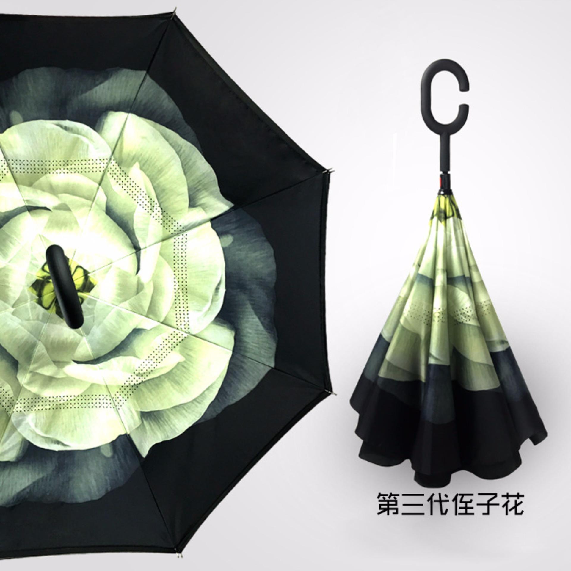 ... BEST Payung Terbalik Gagang C Reverse Umbrella Payung Lipat / Mobil- 22 HIJAU ...