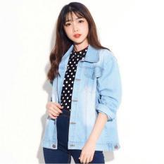 [BEST SELLER] UC Jaket Denim Oversize / Jacket Jeans Wanita Premium / Bomber Parka (Raza) VC - BIRU MUDA