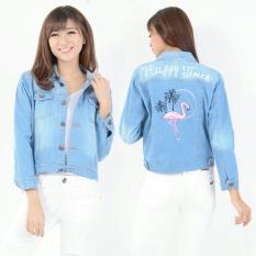 [BEST SELLER] UC Jaket Denim Plus bordir / Jacket Jeans Wanita Premium / Bomber Parka (amingofl) VC - BIRU MUDA