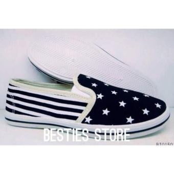 Besties NewYork Flat Slip On Sepatu Fashion - Hitam