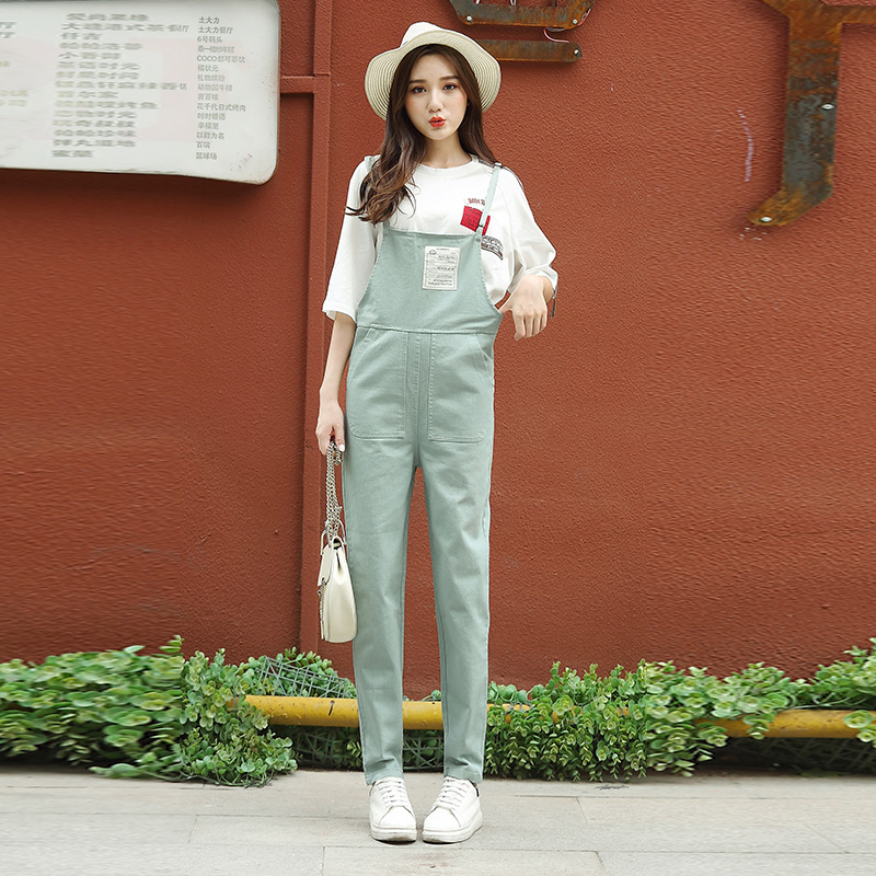 BF casual female New style student versatile pants suspender pants (Cyan)