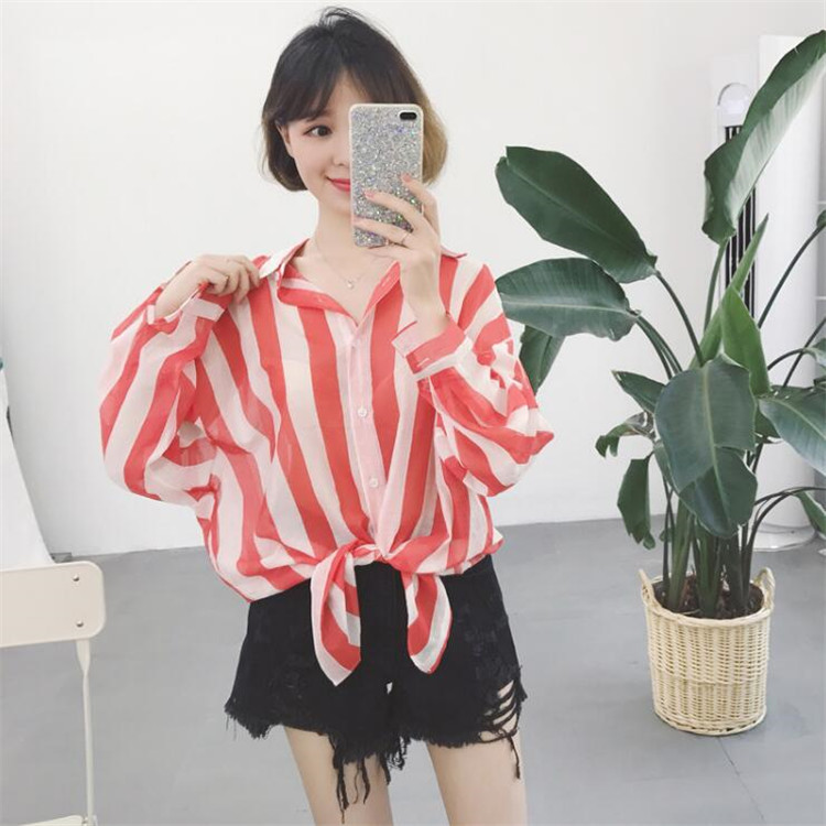 BF spring New style three color origional versatile shirt (Garis merah)