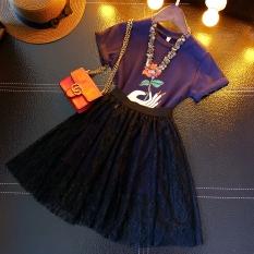 Bisa Xin musim panas baru untuk anak perempuan naik bunga dua potong baju rok (Biru