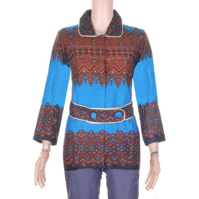 Blus Batik Baju Kerja Wanita Irma - Biru
