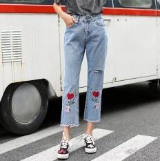 Bordir biru muda siswa Burr celana jeans celana jeans lurus (Cahaya biru) ( Cahaya