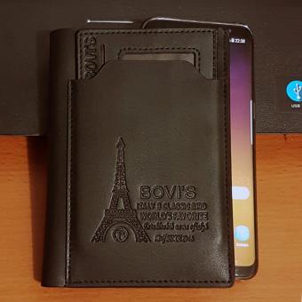 Bovis PU Leather Wallet Dompet Pria 6 Inchi 1382-4 Bifold OriginalImport - Black - 2