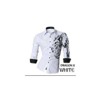 BR13617 C13 DRAGON X WHITE BAJU KEMEJA PRIA DEWASA HEM LAKI-LAKIMURAH