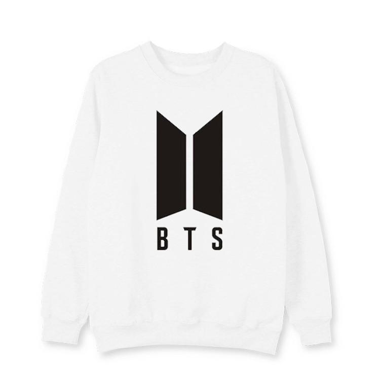BTS anti peluru ayat yang sama huruf leher bulat pullover kemeja (Kolektif putih)