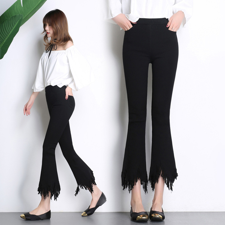 Buds Korean-style tassled home spring and summer ankle-length pants (Hitam)
