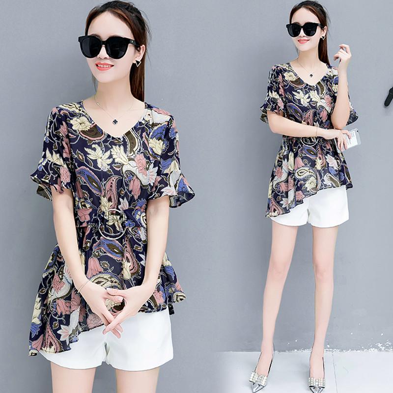 Bunga Korea Fashion Style perempuan lengan pendek bagian panjang adalah sifon tipis kemeja blus (Bunga