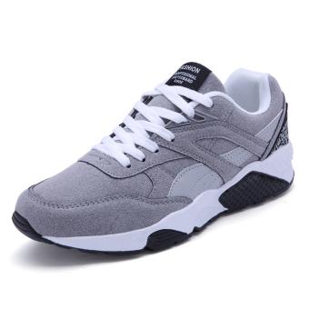 Busana Kasual Pria Renda Lari Sepatu Sneakers (Abu-Abu)