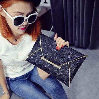 (Buy 1 Get 1 Free Gift) Busana elegan wanita Glitter payet Tas Genggam Tas Pesta Evening amplop mengkilap dompet (hitam) ...