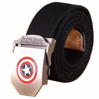 Canvas Captain America Ikat Pinggang Pria Canvas Buckle Belt -Black