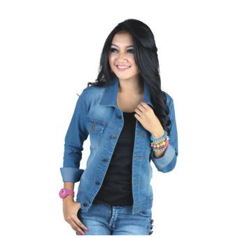 Catenzo Jaket Levis Wanita Blue Denim Nu 076