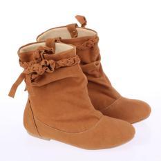 Catenzo Junior Sepatu Boots Fashion Anak Perempuan CTA014 Best Seller - Kids Fashion Boots - Tan