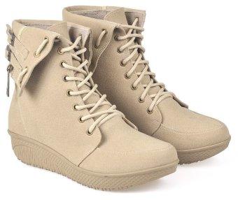 CBR Six BCC 885 Sepatu Fashion boots Wanita Best Seller - Bagus - Syntetic - Krem