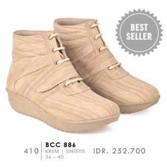 CBR Six BCC 886 Sepatu Fashion boots Wanita - Bagus - Syntetic -Krem