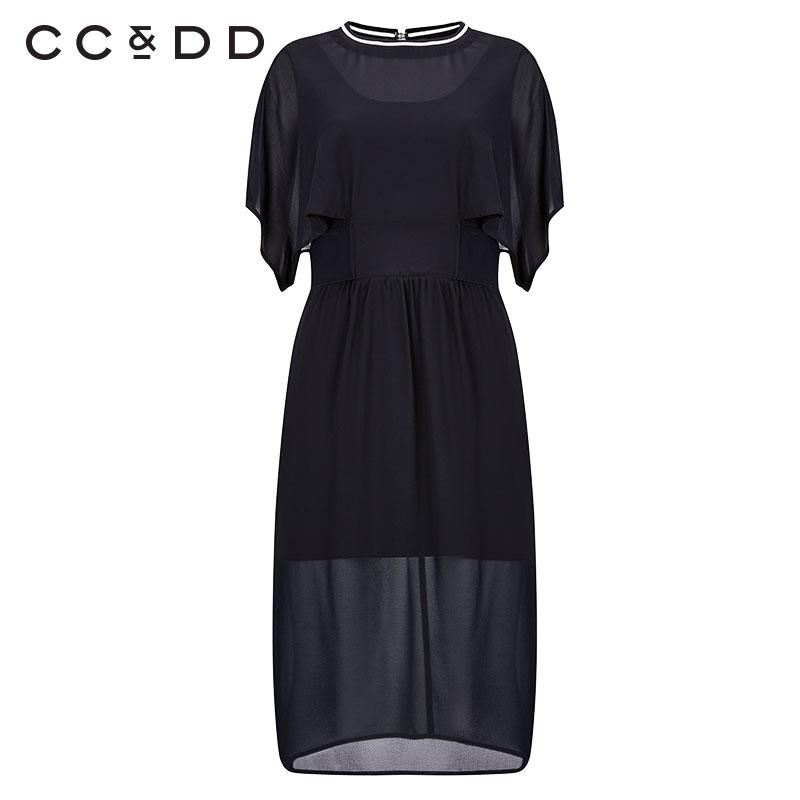 CCDD2017 musim gugur baru lotus lengan sifon hitam gaun temperamen wanita rok (Hitam)