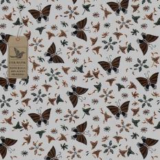Cek Batik - Kain Batik Motif Kupu - Kupu Warna Motif Kombinasi (PUTIH TULANG,