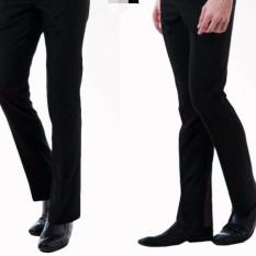 Celana Bahan Slimfit Hitam/celana bahan formal/kerja hitam twis slimfit 27/38