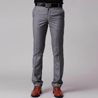 Celana bahan slimfit wool abu abu muda / Celana bahan slimfit wool pria/ celana kantor wool warna abu abu muda - 2