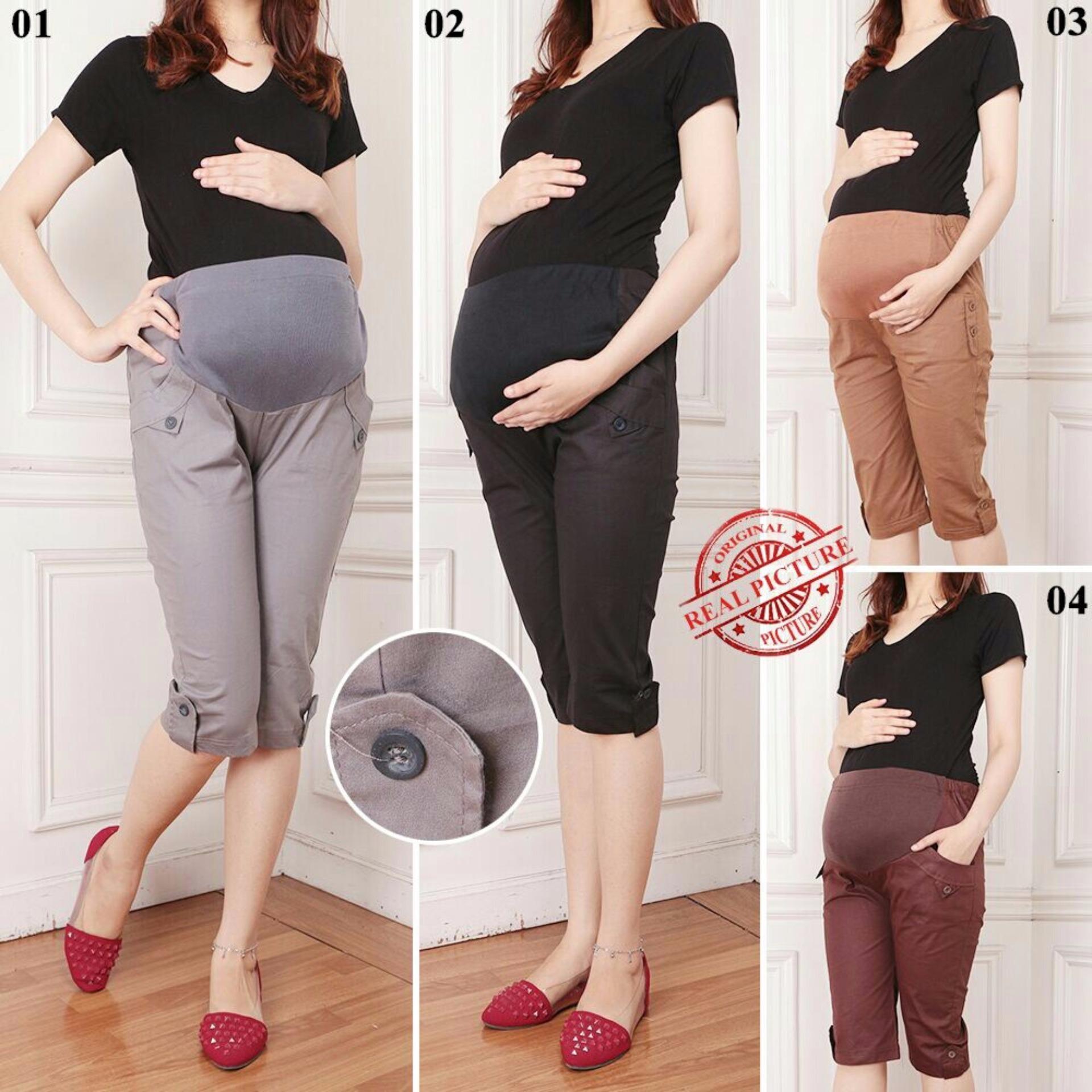 Harga Penawaran Celana Hamil Pendek 7per8 Hotpant Wanita Jumbo Short Pant Long Pantarissa 03 Capucino