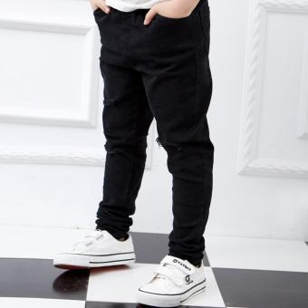 Celana Jeans Anak Laki-laki Berlubang Warna Hitam Versi Korea (Hitam/A8033)