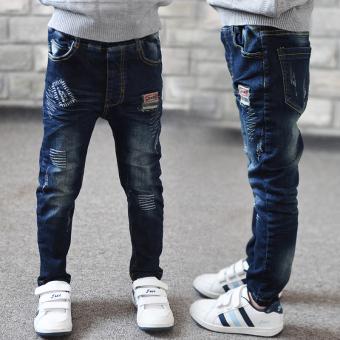 Celana Jeans Anak Laki-laki Versi Korea Bahan Katun Murni (16QK1035 garis gelombang celana