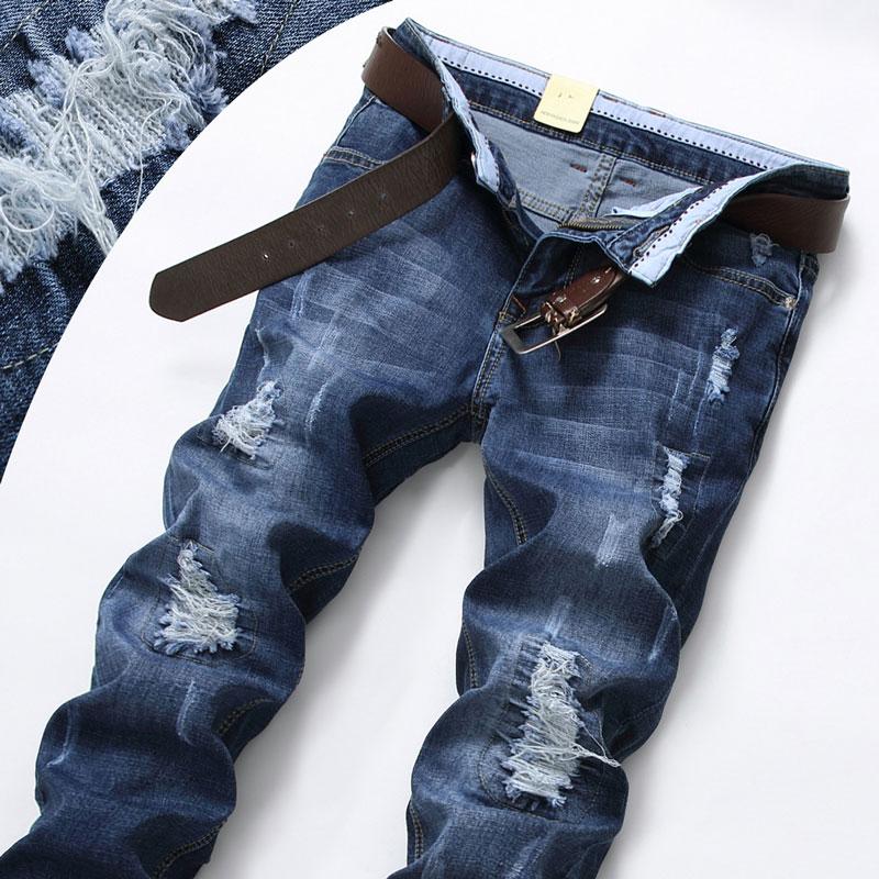 Celana Jeans Berlubang Pria Model Tipis Elastis Longgar Lurus 9602 biru