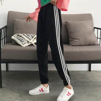 Celana Panjang Jogger Wanita Warna Hitam Pinggang Elastis Olahraga Versi Korea (Hitam tiga bar)